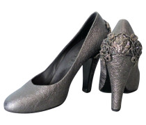 Second Hand Pumps/Peeptoes aus Leder in Silbern