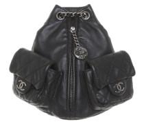 Second Hand Mini-Rucksack aus Leder in Schwarz