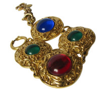 Second Hand CHANEL ARMBAND ~ Medaillons mit Glas CABOCHONS in Rubin-Rot Smaragd-Grün & Saphir-Blau