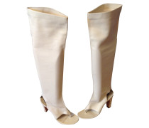 Second Hand Sandalen aus Leder in Creme