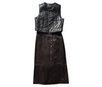 Second Hand Kleid aus Leder in Braun