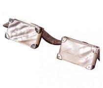 Manschettenknöpfe Stahl Weiß