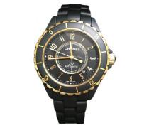 J12 Noire Automatique Gelbgold montre