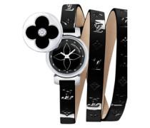 Uhr Tambour Leder Beige
