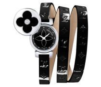 Uhr Tambour Leder Schwarz