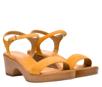 Sandalen aus Leder in Senf/Gelb/Orange