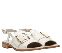 Sandalen aus Leder in Wollweiß/Weiß