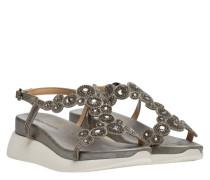 Sandalen aus Leder in Anthrazit/Grau