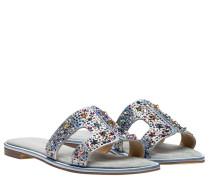 Sandalen aus Leder in Indigo/Jeans/Blau