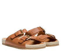 Sandalen aus Leder in Cognac/Braun/Orange