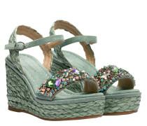 Sandalen aus Leder in Mint/Grün