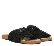 Pantoletten aus Leder in Schwarz