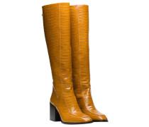 Stiefel aus Leder in Senf/Gelb/Orange