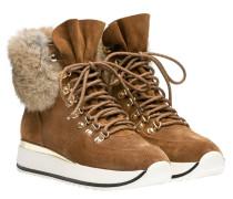 Stiefel aus Leder in Camel/Braun/Orange