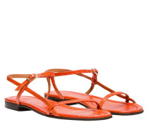 Sandalen aus Leder in Orange
