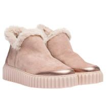 Stiefel aus Leder in Altrosa/Rosa