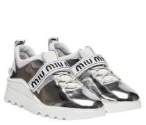 Sneaker aus Textilstoff in Silber