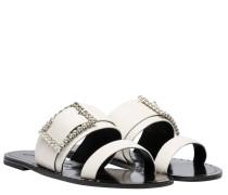 Sandalen aus Leder in Weiß