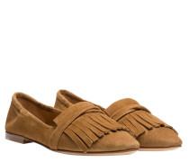Loafer aus Leder in Hellbraun/Braun