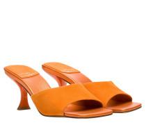 Mules aus Leder in Orange
