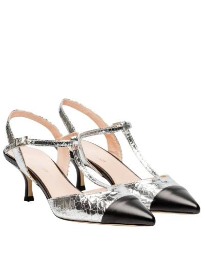 Sandalen aus Leder in Silber