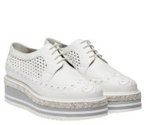 Schnürschuhe aus Leder in Weiß