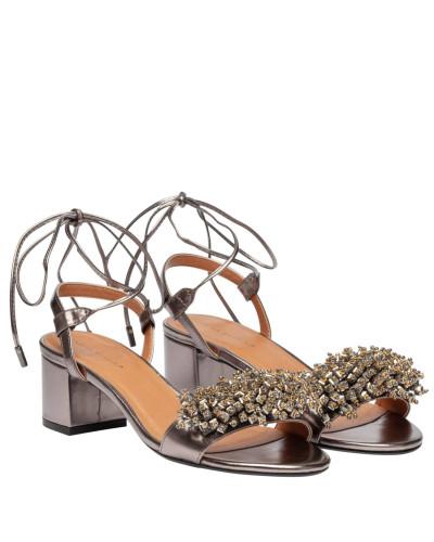 Sandalen aus Leder in Bronze/Braun/Grau/Orange