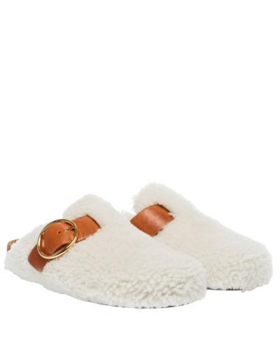 Clogs aus Leder in Weiß