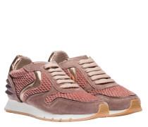 Sneaker aus Leder in Altrosa/Rosa