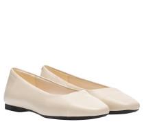 Ballerina aus Leder in Wollweiß/Weiß