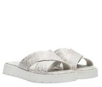 Sandalen aus Leder in Hellgrau/Grau