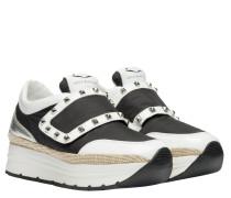 Sneaker aus Leder in Schwarz/Weiß