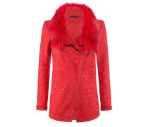 Famous-Jacket l Lässig geschnitte Wolljacke mit Fellkragen in TANGO RED
