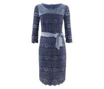 KL-106 Dress/B/ 3/4 | Spitzenkleid mit Gürtel in OCEAN BLUE