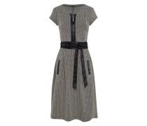 KL-515 | Kleid mit Gürtel in OFF weiß / schwarz