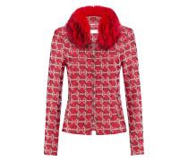 Brit-Jacket l Schmale Jacke mit Fellkragen in TANGO RED