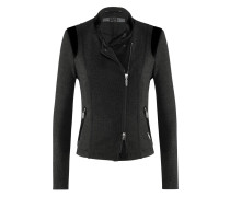 Airfield Blues-Jacket l Jacke im Bikerstil mit asymmetrischem Reißverschluss in JET schwarz