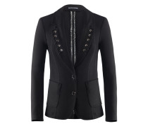 Casually-Blazer | Schwarze Jacke mit Schnürungen in schwarz