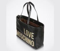 Shopper mit Logo-Aufnäher schwarz