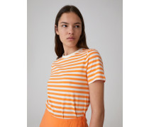 T-Shirt 'Leila' orange/weiß