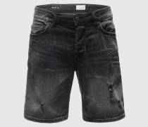 Schlank geschnittene Jeansshorts schwarz
