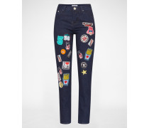 Regular Fit Jeans mit Patches blau