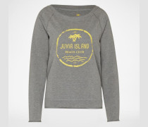 Sweater mit Label-Print grau