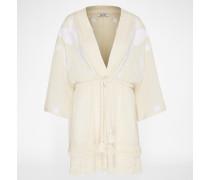 Kimono-Kleid 'Lilian' beige/weiß