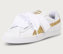Sneaker 'Basket Heart Glitter' gold/weiß