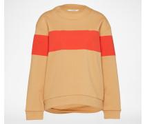 Sweatshirt mit Streifen beige/rot