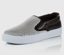 Slipper mit Lochmuster schwarz/weiß