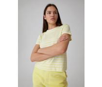 T-Shirt 'Leila' gelb/weiß
