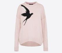 Strickpullover mit Vogelmotiv pink