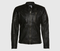 Lederjacke mit Stepp-Details 'Tosh' schwarz